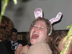 Laughing lady in bunny ears
