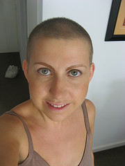 Smiling bald lady