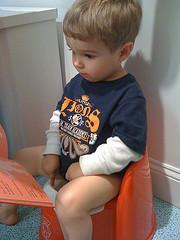 Little boy sitting on an orange potty