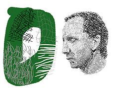 Man staring at a green circle